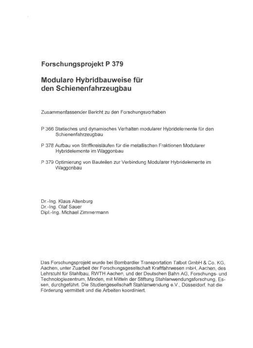 Fostabericht P 379 - Modulare Hybridbauweise für den Schienenfahrzeugbau