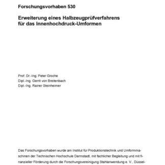 Fostabericht P 530 - Erweiterung eines Halbzeugprüfverfahrens für das Innenhochdruck-Umformen
