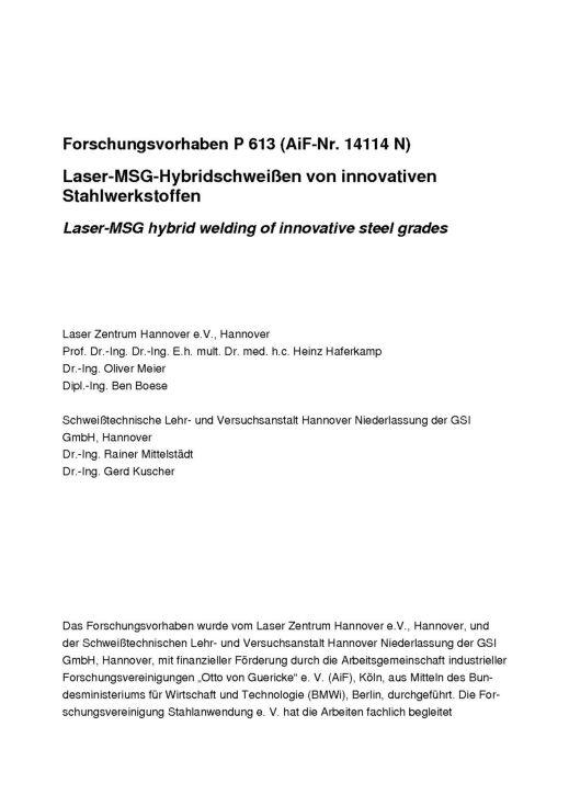 Fostabericht P 613 - Laser-MSG-Hybridschweißen von innovativen Stahlwerkstoffen