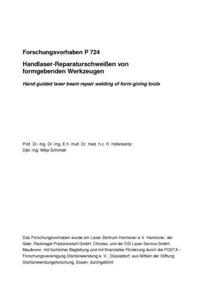 Fostabericht P 724 - Handlaser-Reperaturschweißen von formgebenden Werkzeugen