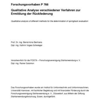 Fostabericht P 768 - Qualitative Analyse verschiedener Verfahren zur Ermittlung der Rückfederung