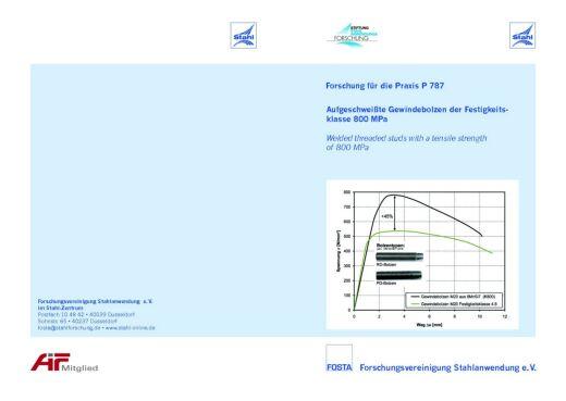 Fostabericht P 787 - Aufgeschweißte Gewindebolzen der Festigkeitsklasse 800 MPa