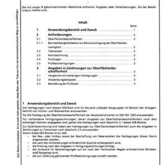 Stahl-Eisen-Betriebsblatt (SEB) 055 501 - Oberflächenbeschaffenheit und Toleranzen - Technische Anforderungen und Angaben in Zeichnungen