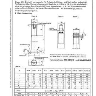 Stahl-Eisen-Betriebsblatt (SEB) 057 815 - Hammerschrauben für Ankerplatten
