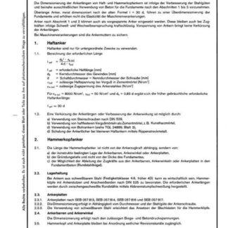 Stahl-Eisen-Betriebsblatt (SEB) 057 820 - Maschinen-Fundamente - Ankerlängen für Maschinen- und Stahlkonstruktionen - Richtlinien