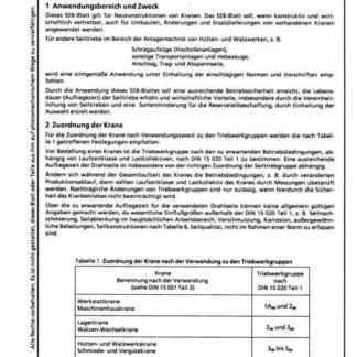 Stahl-Eisen-Betriebsblatt (SEB) 058 301 - Seiltriebe für Krane - Auswahl und Ausführung