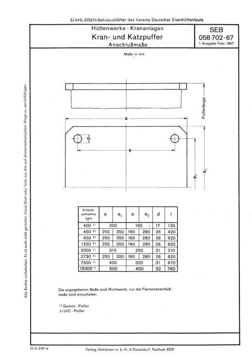Stahl-Eisen-Betriebsblatt (SEB) 058 702 - Hüttenwerke - Krananlagen Kran- und Katzpuffer - Anschlussmaße (1. Ausgabe)