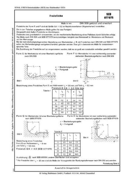 Stahl-Eisen-Betriebsblatt (SEB) 077 075 - Freistiche