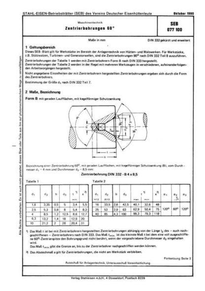 Stahl-Eisen-Betriebsblatt (SEB) 077 100 - Zentrierbohrungen 60°