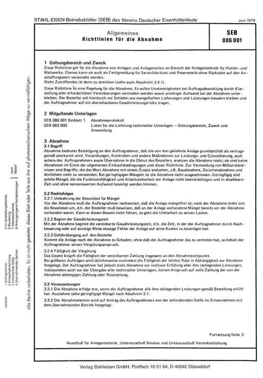 Stahl-Eisen-Betriebsblatt (SEB) 086 001 - Richtlinien für die Abnahme