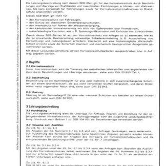Stahl-Eisen-Betriebsblatt (SEB) 104 110 - Beschichtungen und Überzüge - Leistungsbeschreibung