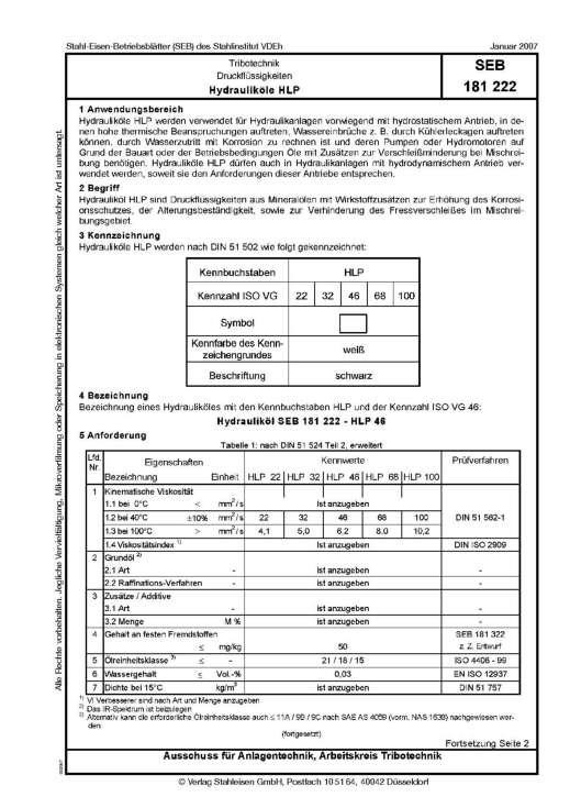 Stahl-Eisen-Betriebsblatt (SEB) 181 222 - Druckflüssigkeiten - Hydrauliköle HLP