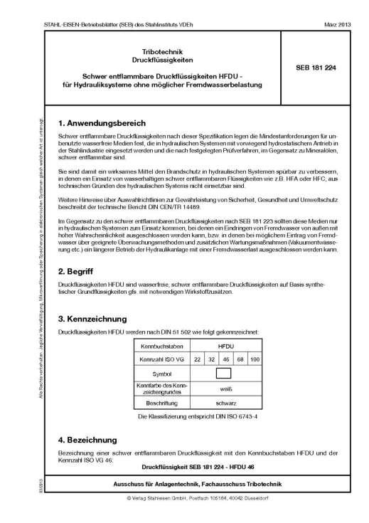 Stahl-Eisen-Betriebsblatt (SEB) 181 224 - Schwer entflammbare Druckflüssigkeiten HFDU - für Hydrauliksysteme ohne möglicher Fremdwasserbelastung