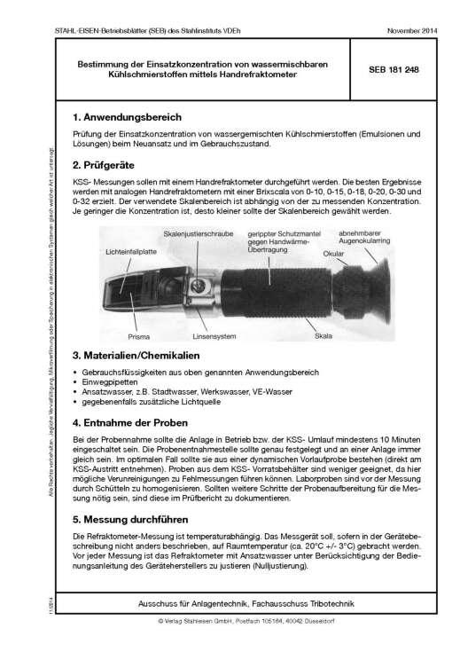 Stahl-Eisen-BEtriebsblatt (SEB) 181 248 - Bestimmung der Einsatzkonzentration von wassermischbaren Kühlschmierstoffen mittels Handrefraktometer