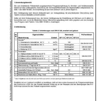 Stahl-Eisen-Betriebsblatt (SEB) 181 253 - Schmierstoffe und verwandte Stoffe - Wiederholungsprüfung für Schmierfette KP K