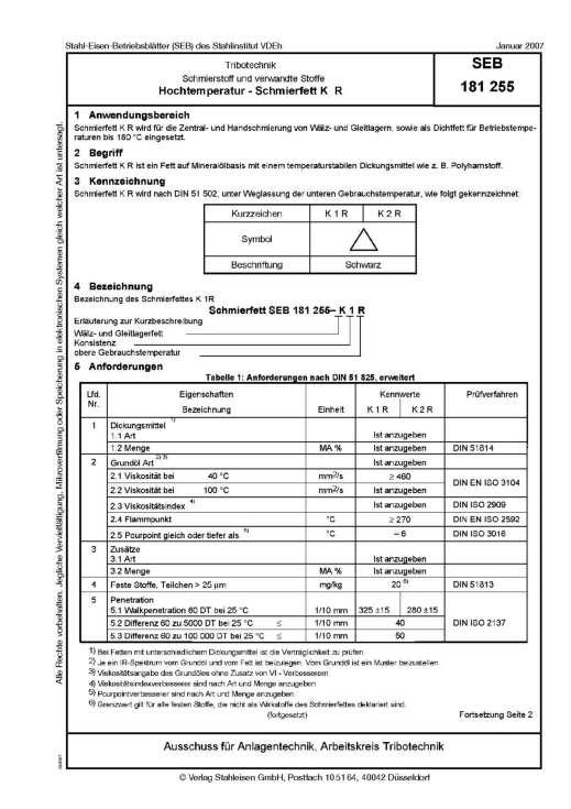 Stahl-Eisen-Betriebsblatt (SEB) 181 255 - Schmierstoff und verwandte Stoffe - Hochtemperatur - Schmierfett K R