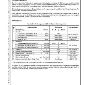 Stahl-Eisen-Betriebsblatt (SEB) 181 255 - Schmierstoffe und verwandte Stoffe - Wiederholungsprüfung für Hochtemperatur - Schmierfett K R