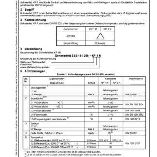 Stahl-Eisen-BEtriebsblatt (SEB) 181 256 - Schmierstoff und verwandte Stoffe - Hochtemperatur - Schmierfett KP R