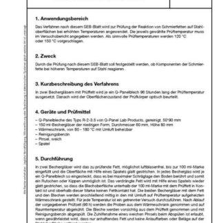 Stahl-Eisen-Betriebsblatt (SEB) 181 305 - Prüfung der Reaktionen von Schmierfett KP auf Stahloberflächen nach einer Wärmebehandlung bei 120°C und 150°C
