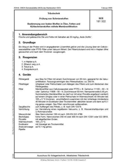 Stahl-Eisen-Betriebsblatt (SEB) 181 322 - Prüfung von Schmierstoffen - Bestimmung von festen Stoffen in Ölen, Fetten und Kühlschmierstoffen mittels Membranfiltration