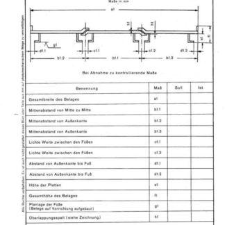 Stahl-EIsen-Betriebsblatt (SEB) 312 010 - Trog- und Siebbeläge in Sinteranlagen - Bei Abnahme zu kontrollierende Maße in Querrichtung (Beiblatt 1)