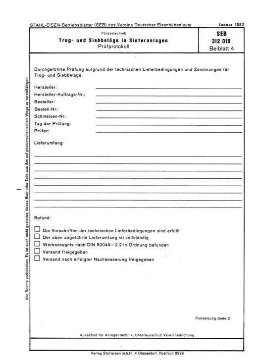 Stahl-EIsen-Betriebsblatt (SEB) 312 010 - Trog- und Siebbeläge in Sinteranlagen - Bei Abnahme zu kontrollierende Maße in Querrichtung (Beiblatt 4)