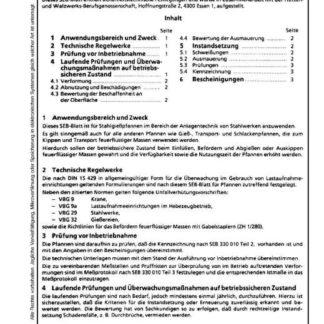Stahl-Eisen-Betriebsblatt (SEB) 330 010 - Stahlgießpfannen - Überwachung im Gebrauch (Teil 4)