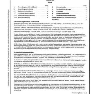 Stahl-Eisen-Betriebsblatt (SEB) 368 100 - Geschweißte Kranschienenstöße - Technische Anforderungen