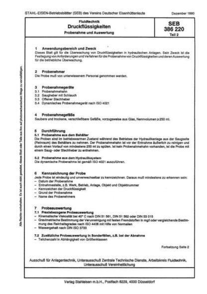 Stahl-Eisen-Betriebsblatt (SEB) 386 220 - Druckflüssigkeiten - Probenahme und Auswertung (Teil 2)