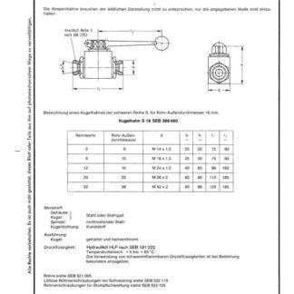 Stahl-Eisen-Betriebsblatt (SEB) 386 460 - Kugelhähne - Nenndruck 250