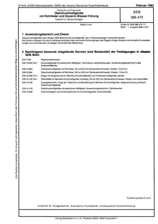 Stahl-Eisen-Betriebsblatt (SEB) 386 470 - Hydraulik und Pneumatik Überdruckmeßgeräte - mit Rohrfeder und Glyerin-Wasser-Füllung - Auswahl für Hydraulikanlagen