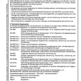 Stahl-Eisen-Betriebsblatt (SEB) 403 040 - Gerüste - Allgemeine und technische Bedingungen für Gerüstbauarbeiten - Auswahl