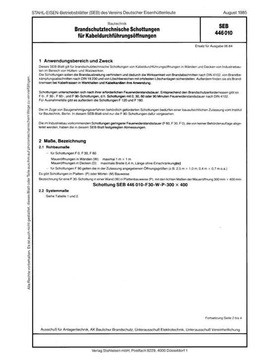Stahl-Eisen-Betriebsblatt (SEB) 446 010 - Brandschutztechnische Schottungen für Kabeldurchführungsöffnungen