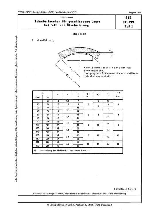 Stahl-Eisen-Betriebsblatt (SEB) 601 221 - Schmiertaschen für geschlossene Lager bei Fett- und Ölschmierung (Teil 1)