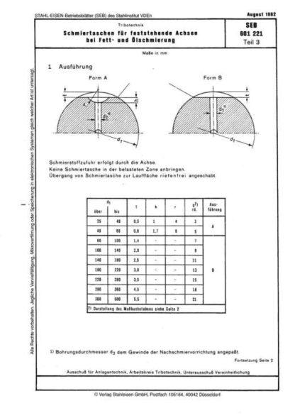 Stahl-Eisen-Betriebsblatt (SEB) 601 221 - Schmiertaschen für festehende Achsen bei Fett- und Ölschmierung (Teil 3)