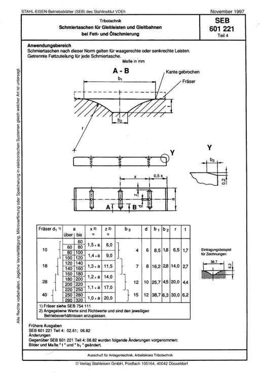 Stahl-Eisen-Betriebsblatt (SEB) 601 221 - Schmiertaschen für Gleitleisten und Gleitbahnen bei Fett- und Ölschmierung (Teil 4)