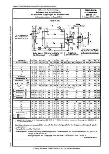 Stahl-Eisen-Betriebsblatt (SEB) 601 411 - Richtwerte und Anschlussmaße für elastische Kupplungen mit Bremsscheiben für Drehstrommototren der Bauart HDAS (1959)