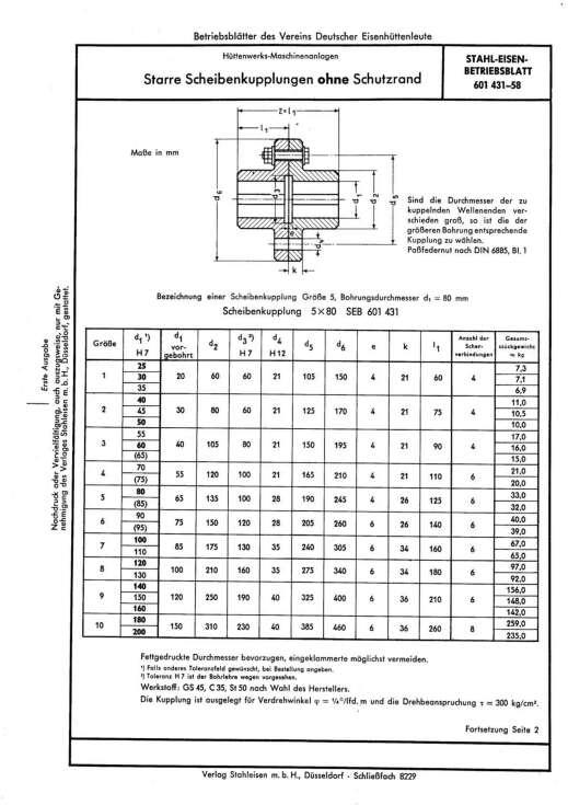 Stahl-Eisen-Betriebsblatt (SEB) 601 431 - Starre Scheibenkupplungen one Schutzrand (1958)