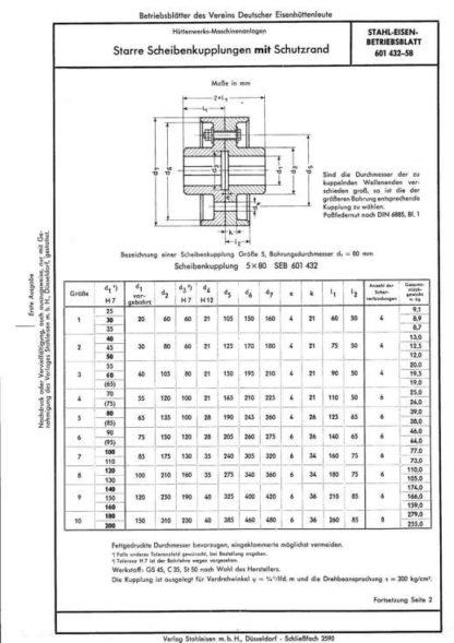 Stahl-Eisen-Betriebsblatt (SEB) 601 432 - Starre Scheibenkupplungen mit Schutzrad (1958)