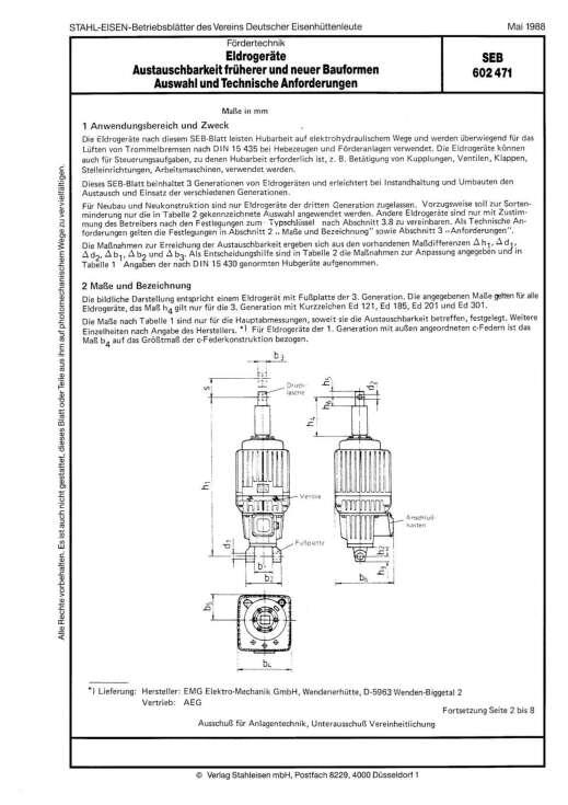 Stahl-Eisen-Prüfblatt (SEB) 602 471 - Eldrogeräte - Austauschbarkeit früherer und neuer Bauformen Auswahl und Technische Anforderungen