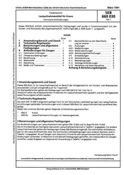Stahl-Eisen-Betriebsblatt (SEB) 660 030 - Lastaufnahmemittel für Krane - Technische Anforderungen (Teil1 )
