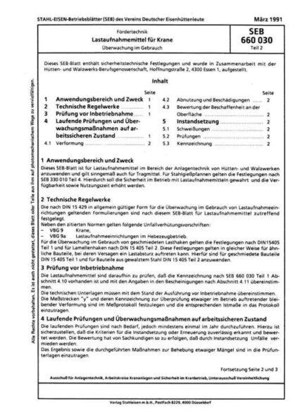 Stahl-Eisen-Betriebsblatt (SEB) 660 030 - Lastaufnahmemittel für Krane - Überwachung im Gebrauch (Teil 2)