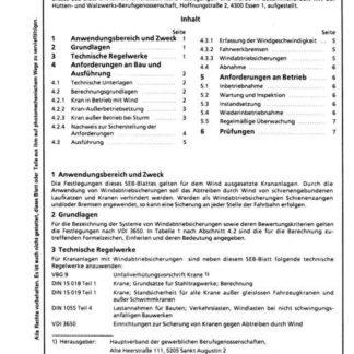 Stahl-Eisen-Betriebsblatt (SEB) 664 110 - Windabtriebsicherungen für Krananlagen - Grundlagen und technische Anforderungen (Teil 1)