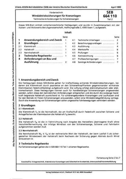 Stahl-Eisen-BEeriebsblatt (SEB) 664 110 - Windabtriebsicherung für Krananlagen - Technische Anforderungen für Schienenzangen (Teil 2)