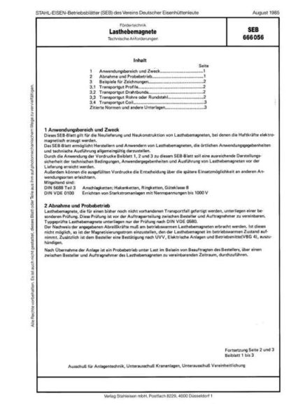 Stahl-Eisen-Betriebsblatt (SEB) 666 056 - Lasthebemagnete SEB - Technische Anforderungen