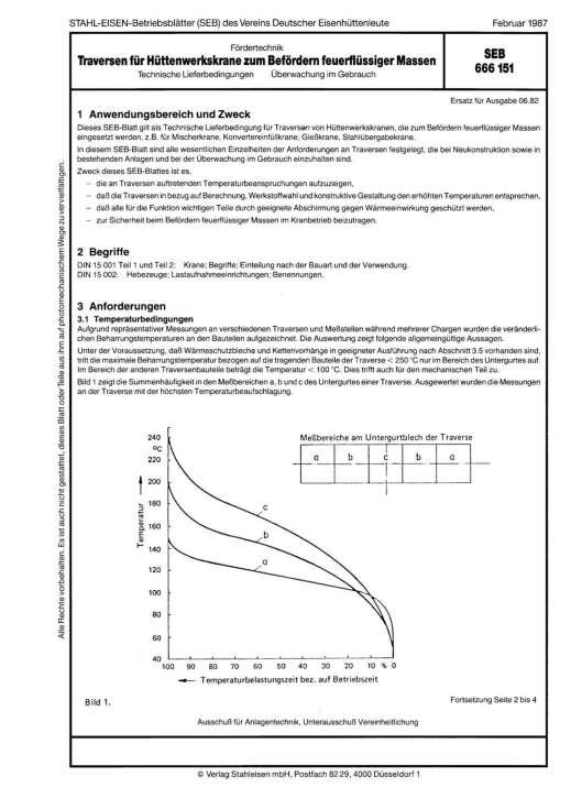 Stahl-Eisen-Betriebsblatt (SEB) 666 151 - Traversen für Hüttenwerkskrane zum Befördern feuerflüssiger Massen Technische Lieferbedingungen Überwachung im Gebrauch