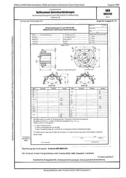 Stahl-Eisen-Betriebsblatt (SEB) 666 212 - Seiltrommel-Gelenkverbindungen - Abnahmeprüfzeugnis B nach DIN 50 049 für Maßprüfung - Vordruck B (Teil 4)