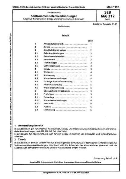 Stahl-Eisen-Betriebsblatt (SEB) 666 212 - Seiltrommel-Gelenkverbindungen - Anschluss-Konstruktion, EInbau und Überwachung im Gebrauch (Teil 5)
