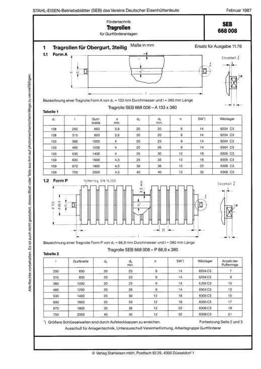 Stahl-Eisen-Prüfblatt (SEB) 668 008 - Tragrollen für Gurtförderanlagen