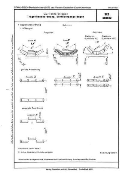 Stahl-Eisen-Betriesblatt (SEB) 668 032 - Gurtförderanlagen - Tragrollenanordnung, Gurtübergangslängen